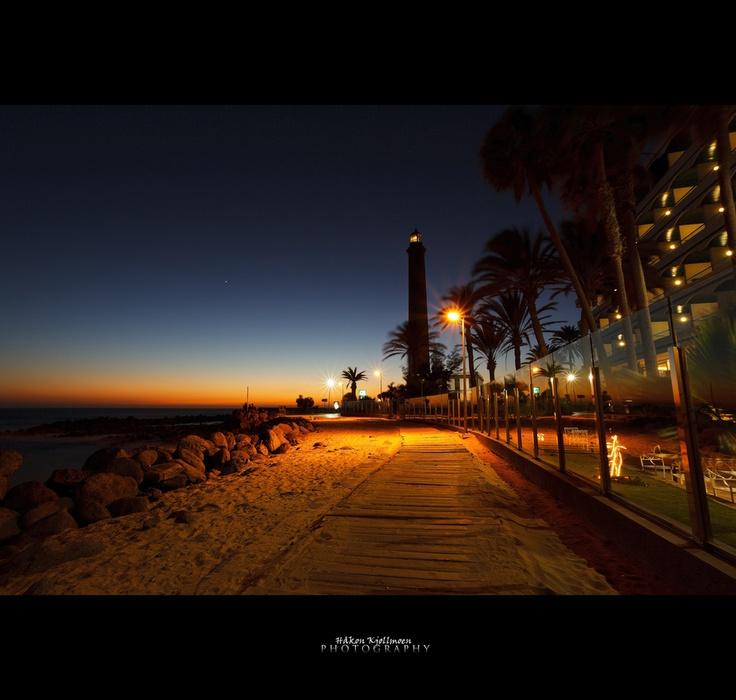 Maspalomas Lighthouse in sunset