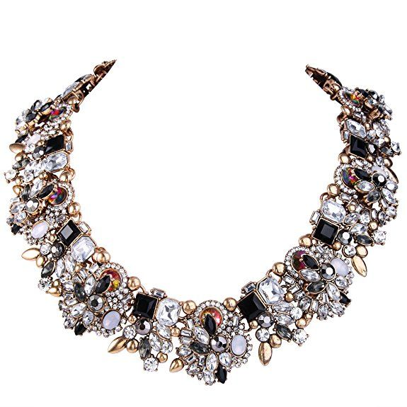 Statement Necklace UK  EVER FAITH® Vintage Style Art Deco Statement Necklace Austrian Crystal Gold-Tone Black with Clear crystals #Ad