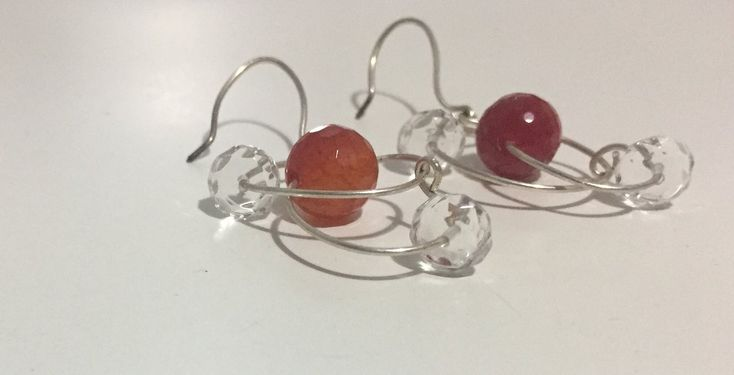 Red Carnelian & Faceted Crystal Quartz Earrings                      – Truly Gems