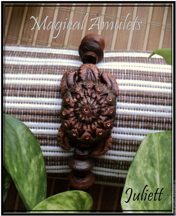 """Купить Браслет """"Черепаха"""" - деревянные бусины, деревянный, амулет талисман оберег, амулет на удачу, амулет"""