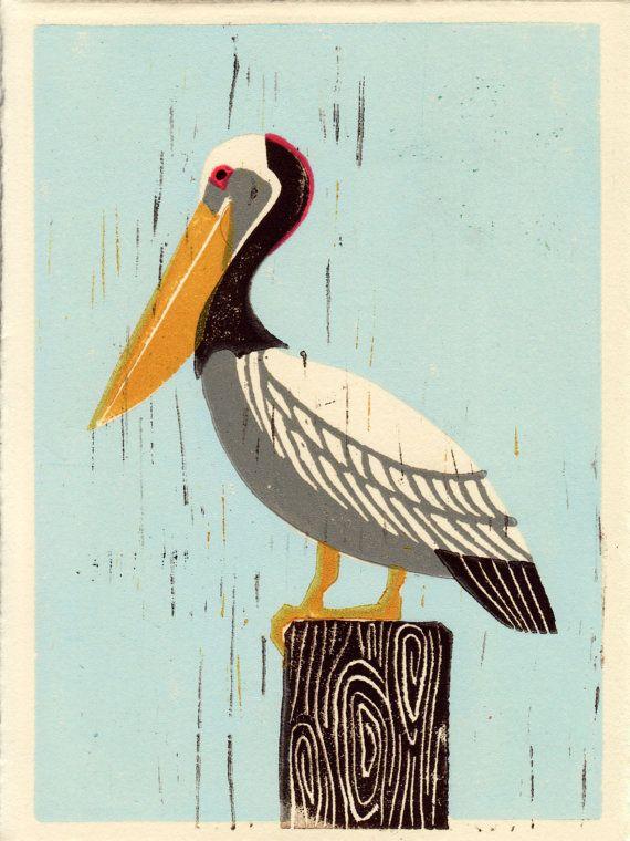 Pelican Linocut Hand Pulled Print, Art Illustration, Summer Artwork, 5 x 7, Nautical, Blue, Beach, Ocean, Sea, Sky