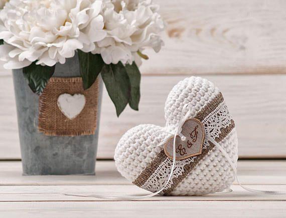 Anillo de bodas almohada titular iniciales almohada anillo
