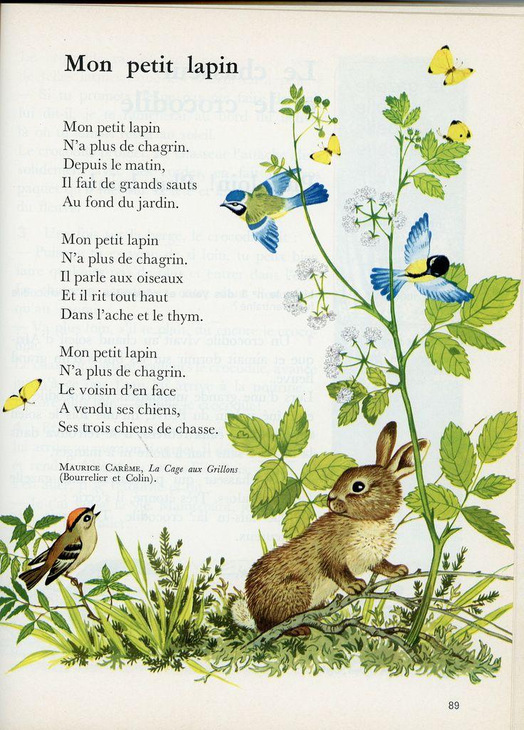 """""""Lisons Lisette"""" - Editions Belin - Auteurs R. Millot et Y. Trébaux - Illustrations Gerda Müller CP-CE1 - 1974 - """"Mon petit lapin"""" Maurice Carême."""
