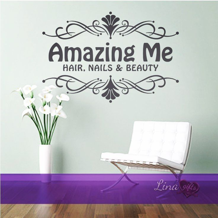 Personalised Hair Nails Beauty Salon Swirls Design Frame Wall Art Sticker Beauty Salon Design Beauty Salon Decor Sticker Wall Art