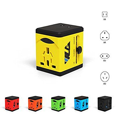 #1 Rated Travel Adapter and Charger - USB Charging Ports - Super Fast Charging - All International Standard Cell Phone/Desktop/Laptop/Touch Screen Tablet/Computer/GPS Chargers - Warranty - Yellow