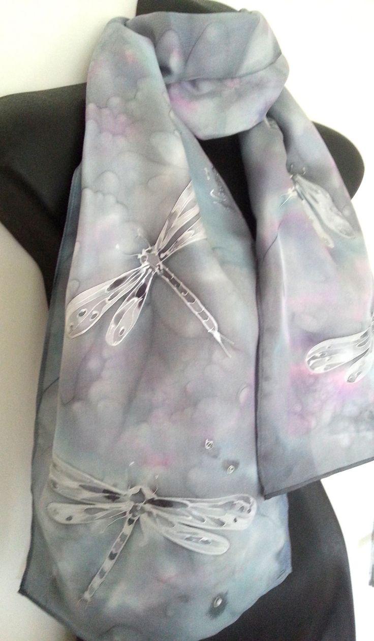 DRAGONFLIES Silver, Handpainted SILK SCARF New Zealand,  Grey Pink Blush Purple,  Silver outlines, Habotai Silk,  Silver Scarf, Online Gift by KiwiSilks on Etsy