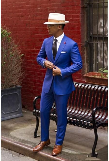 Classic Royal Blue Groom Tuxedos Cheap Slim Fit Notched Lapel 2016 Vintage Wedding Prom Men Suit ( jacket Pants tie)