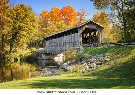 Covered Bridge - Lowell, Michigan  Our coffee stop every fall tour!