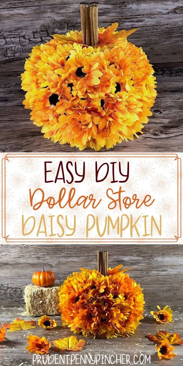 Easy DIY Dollar Store Daisy Pumpkin #fall #diyfalldecor #falldecor #falldecorati…