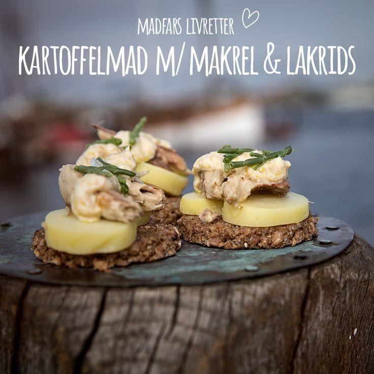 Kartoffelmaden er en ægte dansk frokostklassiker, som Madfar har fortolket og givet sit eget friske pust. Makrel i rapsolie i selskab med lakrids, mangocreme m. chiliflager og salturt. Bum: Kartoffelmaden er som født på ny! Se opskrift i bio.