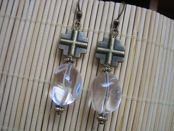 Handmade Rock Quartz Crystal and Brass Dangle by Fredastore -$25.00