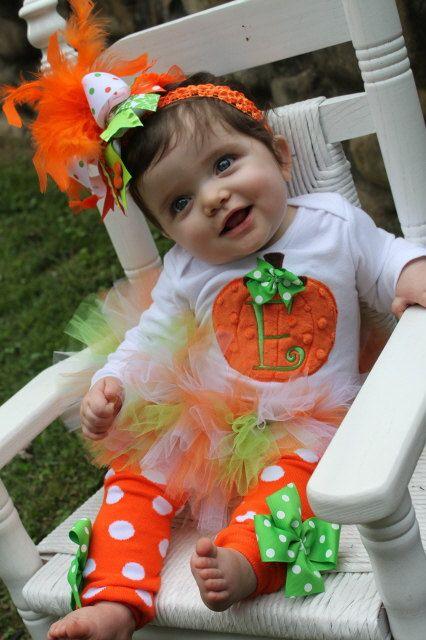 Pumpkin Outfit  Baby Girl Pumpkin Outfit  by DarlingLittleBowShop, $79.95