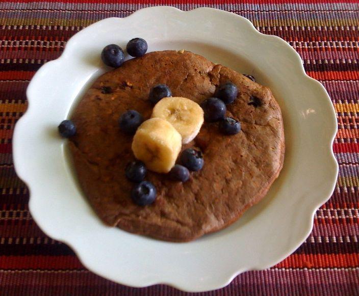 Oatmeal pancakes! Oatmeal, egg whites, milk, and baking soda, plus whatever else your heart desires.