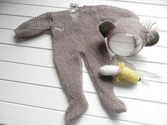 Baby Monkey Onesie Bonnet and Banana Set by TaiterTotProps on Etsy