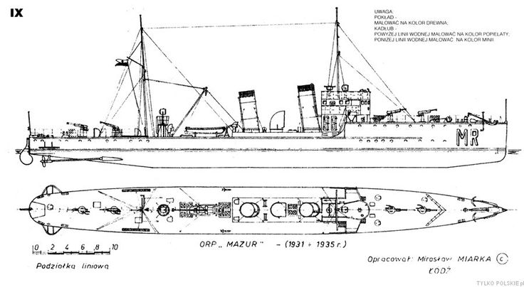 Appearance of ORP Mazur in the years 1931-1935 after first rebuilt.