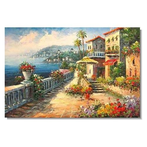 Italian Mediterranean Seascape Old Town Beach-041 Impressionist Landscape Oil Painting Canvas Art