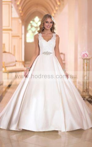 Ball Gown Shoulder Straps Natural Sleeveless Floor-length Wedding Dresses wes0079