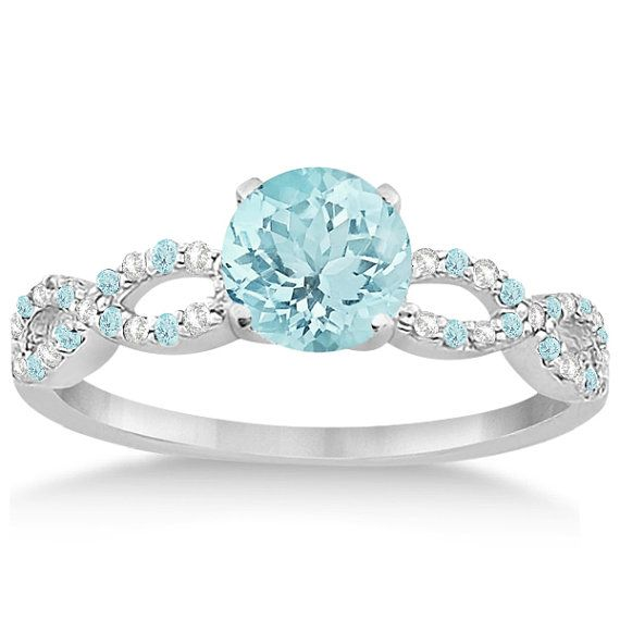 Diamond and Aquamarine Infinity Engagement Ring 14K by Allurez