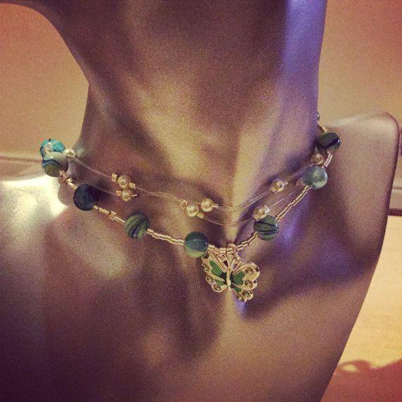 Dainty green three strand choker by DesignsBySunshineUK on Etsy