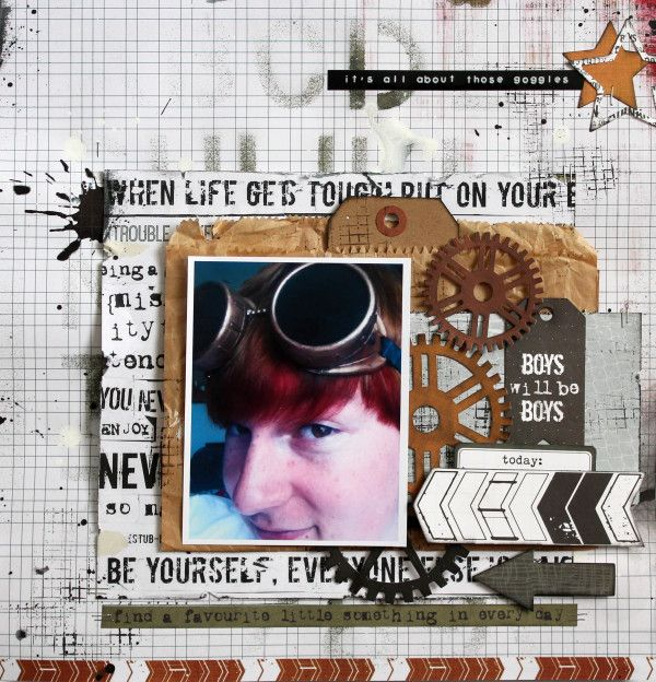 "Kaisercraft ""Scrap Yard"" Its All About Those Goggles by Kylie Cornish"
