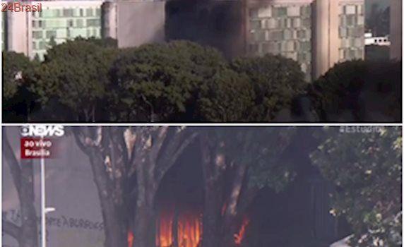 Brasília: Incêndio atinge ministérios durante manifestação contra Temer