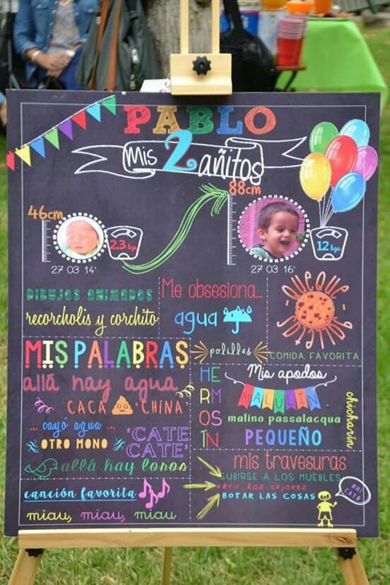 Pizarra decorativa cumpleaños #2 Pablito                              …