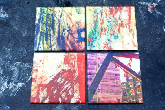 Glass Coasters Set of 4 Variety Pack Urban by Zero12Photography