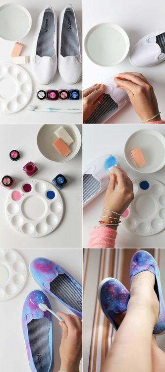 Diy Paint shoes galaxy