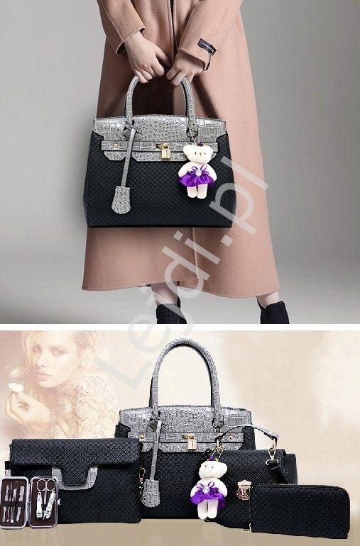 Big set - handbags, wallet, bags. Duży komplet w kolorze czarnym, duża torebka +kopertówka+ listonoszka +portfel + organizer+ miś zawieszka www.lejdi.pl