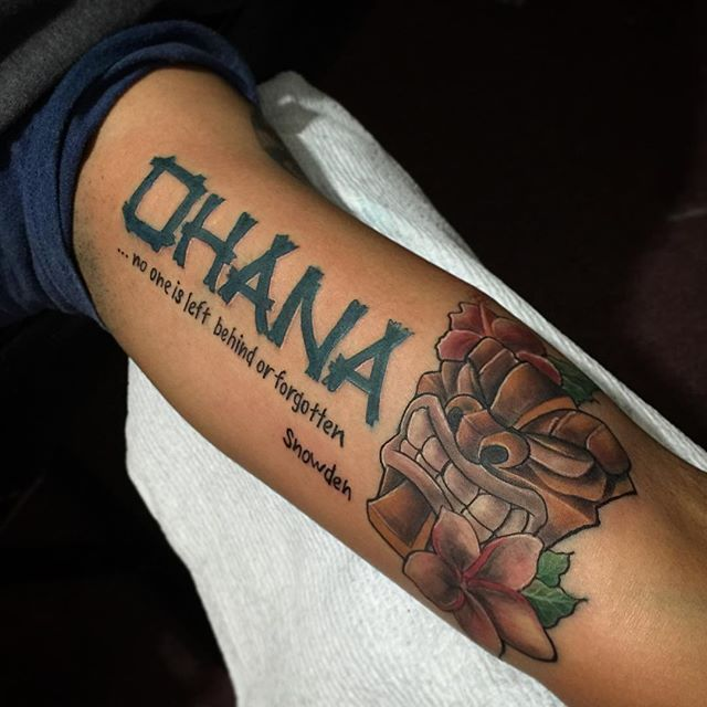"Ohana Tattoo Designs Ideas And Meaning: #mulpix ""OHANA"" TIKI GOD... #MenaceInks #Menace #Tattoos"