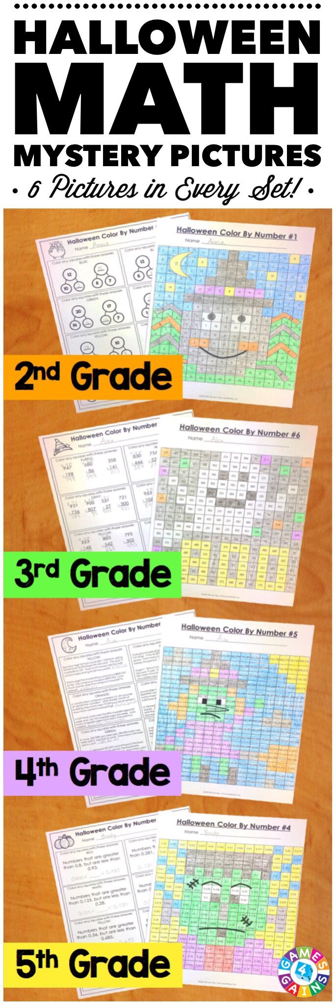 """My students LOVE these because they are fun to solve and color! I love them because it is a great review of the skills!"" These Halloween Math Color by Number Activities are the perfect way to review key math skills taught throughout the beginning of the year. Each set comes with 6 different pictures, and each picture focuses on a different skill. Different versions available for 2nd, 3rd, 4th, and 5th grades."