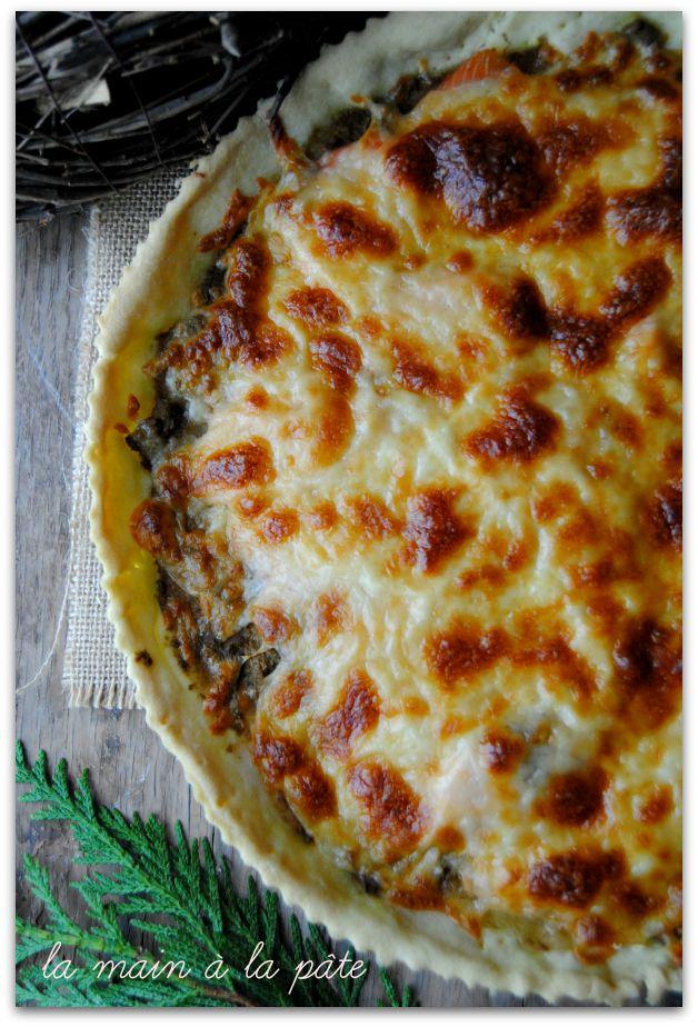 tarte salée au pesto, saumon fumé et mozzarella