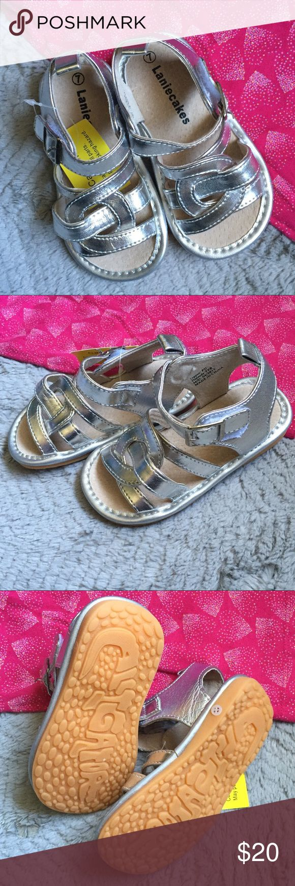 Labor Cakes Squeaker Shoes NWT Lanie Cakes squeaker shoes in silver. Lanie Cakes Shoes Sandals & Flip Flops