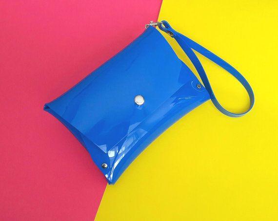 Blue wristlet vegan clutch bag clear stadium bag by YPSILONBAGS