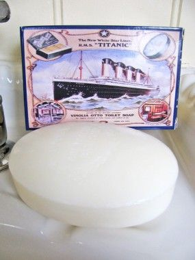 Vinolia Cold Cream Bath Soap  Vinolia cold cream bath soap was supplied to all first class passengers on the R.M.S Titanic and her sister ship the R.M.S Olympic. It was the only product to use the Titanic in advertising before the ship set sail