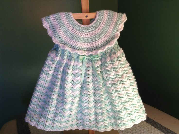 Pinner said: In this tutorial I show you how to crochet this beautiful baby dress. This dress is perfect for beginners to try. I finally wrote my first pattern to go alon...