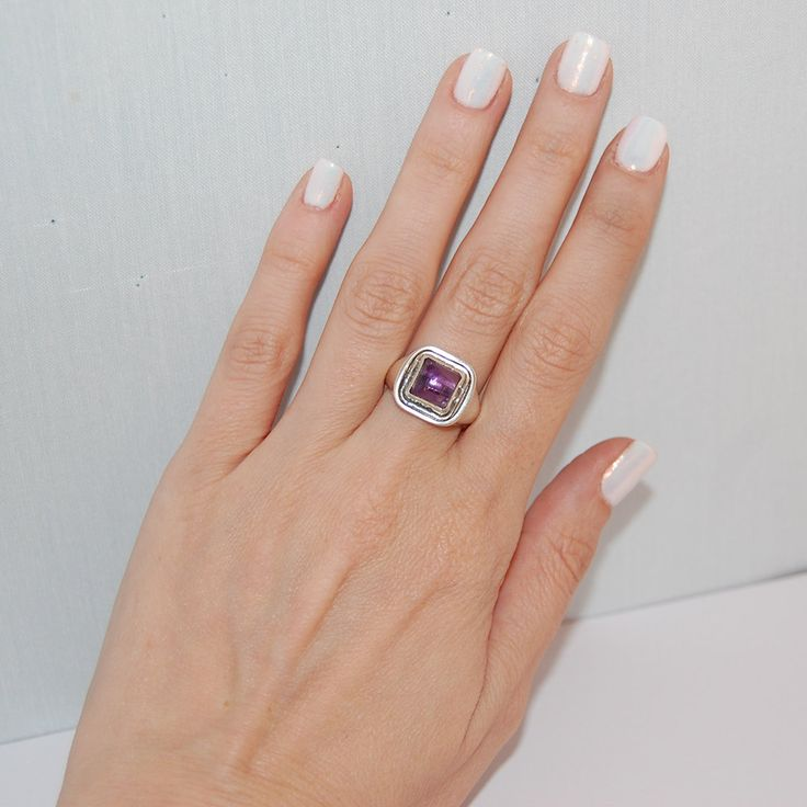Amethyst silver ring, Sterling silver ring, Handmade silver ring, Gift for him…