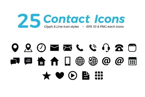Black Contact Icon Set Icon Set Business Card Icons Icon