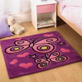 Flair Rugs Kiddy Play Butterfly Childrens Rug, Purple