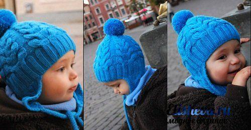 Шапочка с помпоном на завязках для малыша вязаная спицами. Обсуждение на LiveInternet - Российский Сервис Онлайн-Дневников