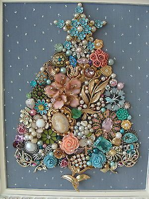 Shabby Cottage Vintage Jewelry Framed CHRISTMAS TREE ~STAR Flowers & Pearls~on eBay