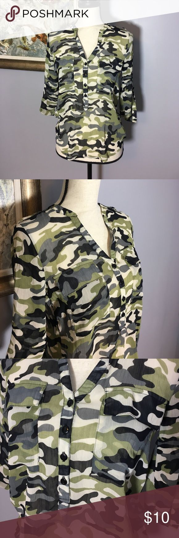 Sheer Camo Hi-Lo Blouse Cool semi sheer camouflage top.  Excellent Used Condition.  Two breast pockets. Button up sleeves.  Size Juniors S.  100% Poly Almost Famous Tops
