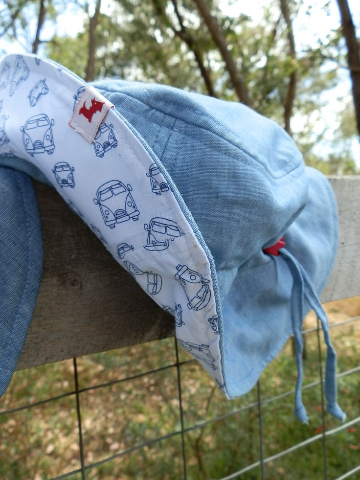 $29.95 - Boys Hat (Peace, Love & Mung Beans) UPF 50+. It has a front brim of 5.5cm, in accordance with Cancer Council recommendations, and a wider back brim for added neck protection. It's made from lightweight 100% cotton chambray with a polycotton SportsPlus® core for breathability and durability. With an adjustable drawstring & cordlock it fits Size Small (1-3) and Medium (4-6). It is 100% Australian made and designed with sun protection in mind. www.shadydays.com.au