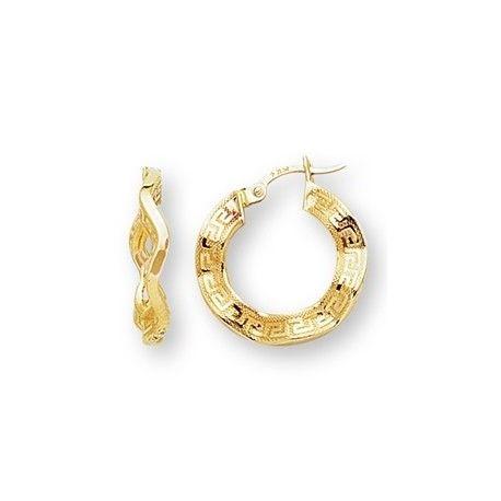 14k желтое золото круглый греческий ключ волнистые Хооп серьги (20 х 20 мм)