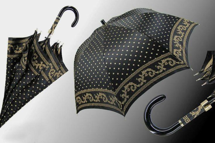 """Ombrello apertura automatica, tessuto a pois nero e oro con greca by """"Ombrellificio il Marchesato ombrelli artigianali italiani"""" #artigianato #piemonte #artigianoinfiera #handmade #handcraft"""