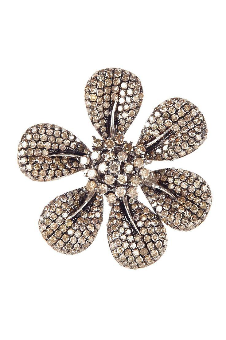 Champagne Diamond Flower Ring - 2.65 ctw