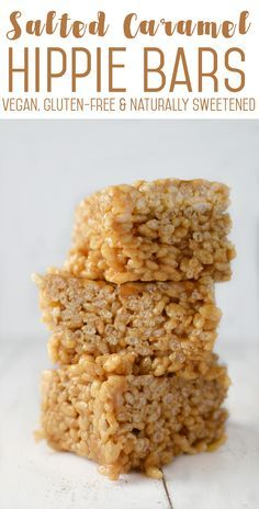 Salted Caramel Hippie Bars! A vegan, gluten-free and naturally sweetened rice crispie treat! You HAVE to try these, perfect for adults and kids!   www.delishknowledge.com