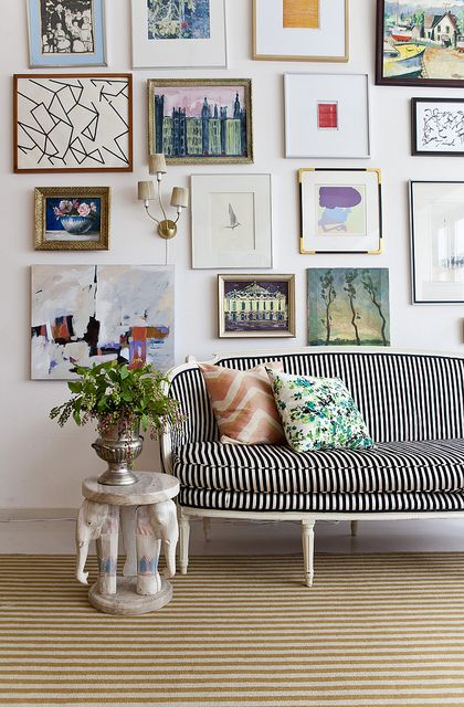 Love the collages and stripe couchWall Art, Side Tables, Little Green Notebook, Green Notebooks, Living Room, Gallery Walls, Gallerywall, Stripes, Art Wall