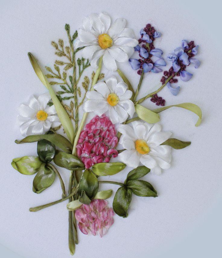 Вышивка лентами полевых трав и цветов МКот Галимовой Алсу