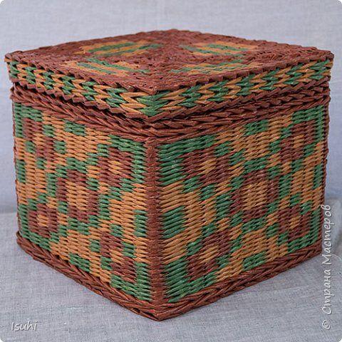 Поделка изделие Плетение Короба - крышка с наружным бортиком Бумага газетная Трубочки бумажные фото 10